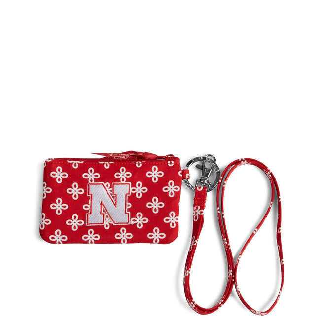 Collegiate Zip ID Lanyard-Red/White Mini Concerto with University of Nebraska Logo-Image 1-Vera Bradley