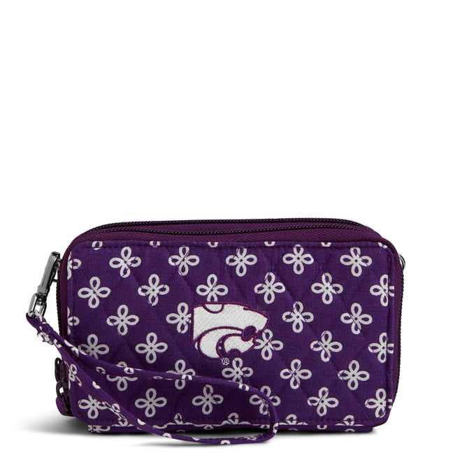 Collegiate RFID All in One Crossbody Bag-Purple/White Mini Concerto with Kansas State University Logo-Image 1-Vera Bradley