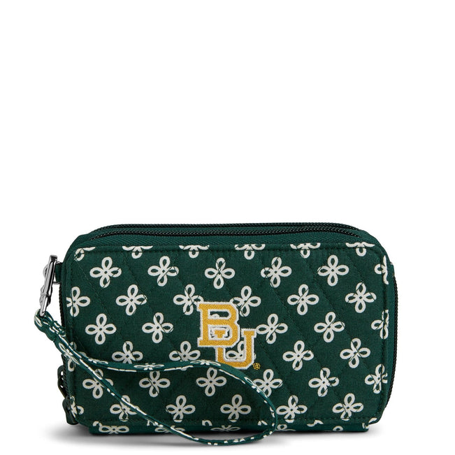 Collegiate RFID All in One Crossbody Bag-Dk Green/White Mini Concerto with Baylor University Logo-Image 1-Vera Bradley