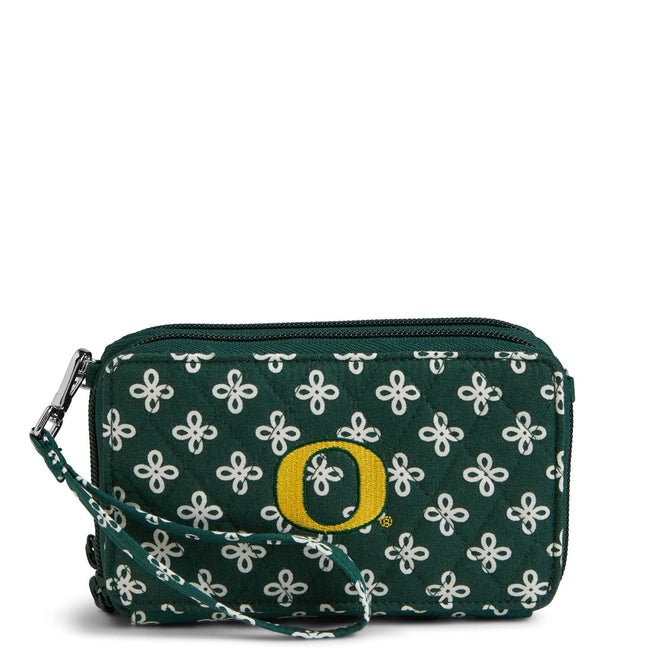 Collegiate RFID All in One Crossbody Bag-Dk Green/White Mini Concerto with University of Oregon Logo-Image 1-Vera Bradley