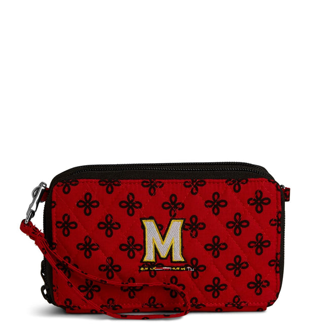 Collegiate RFID All in One Crossbody Bag-Red/Black Mini Concerto with University of Maryland Logo-Image 1-Vera Bradley