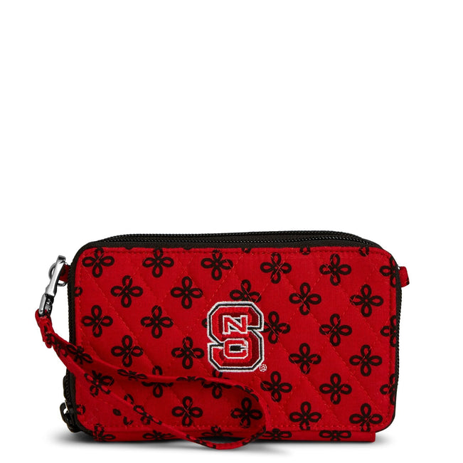 Collegiate RFID All in One Crossbody Bag-Red/Black Mini Concerto with North Carolina State University Logo-Image 1-Vera Bradley