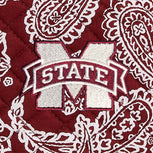 Collegiate Plush XL Throw Blanket-Maroon/White Bandana with Mississippi State Univeristy Logo-Image 2-Vera Bradley