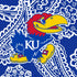 Collegiate Plush XL Throw Blanket-Royal/White Bandana with University of Kansas-Image 3-Vera Bradley