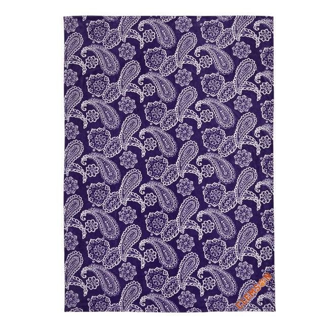 Collegiate Plush XL Throw Blanket-Purple/White Bandana with Clemson University-Image 1-Vera Bradley