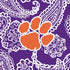 Collegiate Plush XL Throw Blanket-Purple/White Bandana with Clemson University-Image 3-Vera Bradley