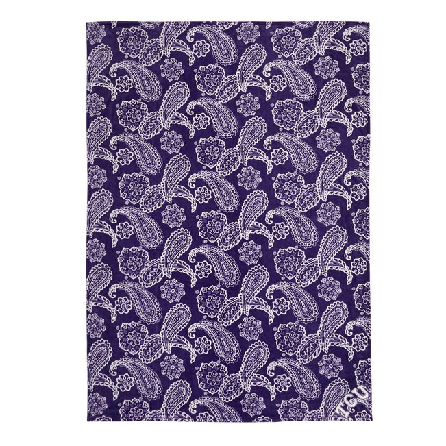 Collegiate Plush XL Throw Blanket-Purple/White Bandana with Texas Christian University-Image 1-Vera Bradley