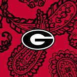 Collegiate Plush XL Throw Blanket-Red/Black Bandana with University of Georgia Logo-Image 2-Vera Bradley