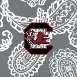 Collegiate Plush XL Throw Blanket-Gray/White Bandana with University of South Carolina Logo-Image 3-Vera Bradley