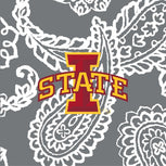 Collegiate Plush XL Throw Blanket-Gray/White Bandana with Iowa State University Logo-Image 2-Vera Bradley