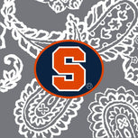Collegiate Plush XL Throw Blanket-Gray/White Bandana with Syracuse University Logo-Image 2-Vera Bradley