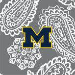 Collegiate Plush XL Throw Blanket-Gray/White Bandana with University of Michigan Logo-Image 2-Vera Bradley