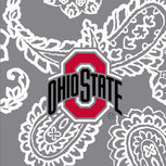 Collegiate Plush XL Throw Blanket-Gray/White Bandana with The Ohio State University Logo-Image 2-Vera Bradley