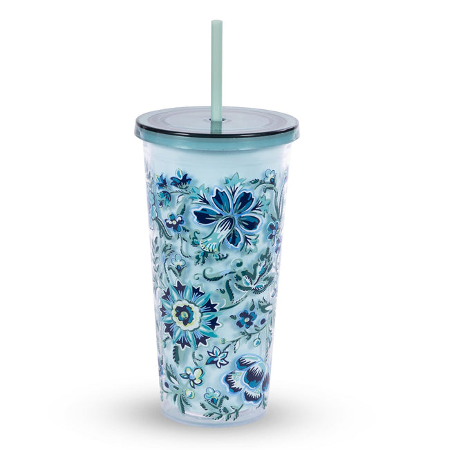 Double Wall Tumbler with Straw-Cloud Vine-Image 1-Vera Bradley