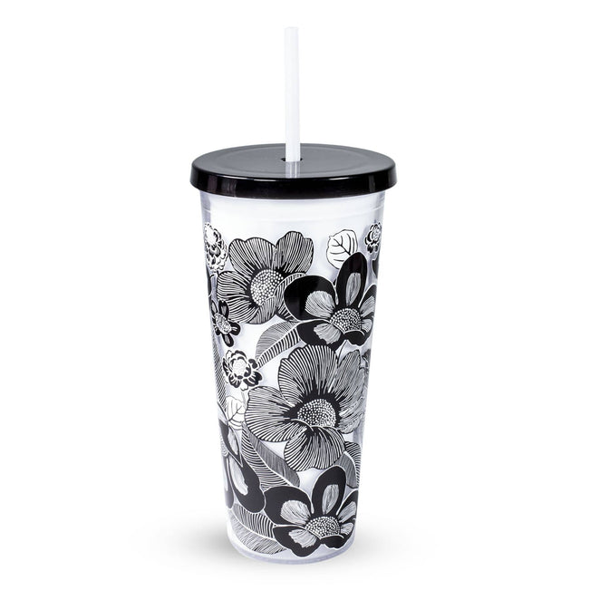 Double Wall Tumbler with Straw-Bedford Blooms White-Image 1-Vera Bradley