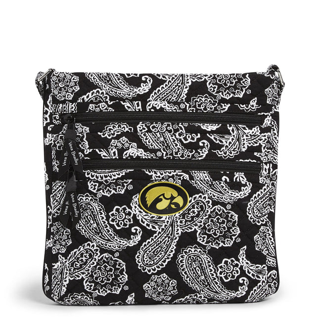Collegiate Triple Zip Hipster Crossbody-Black/White Bandana with University of Iowa-Image 1-Vera Bradley