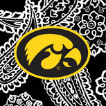 Collegiate Triple Zip Hipster Crossbody-Black/White Bandana with University of Iowa-Image 2-Vera Bradley