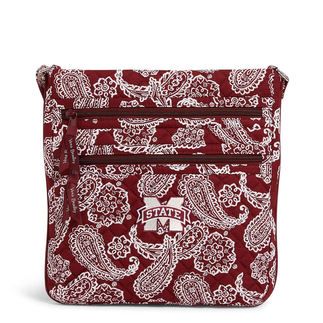 Collegiate Triple Zip Hipster Crossbody-Maroon/White Bandana with Mississippi State Univeristy Logo-Image 1-Vera Bradley