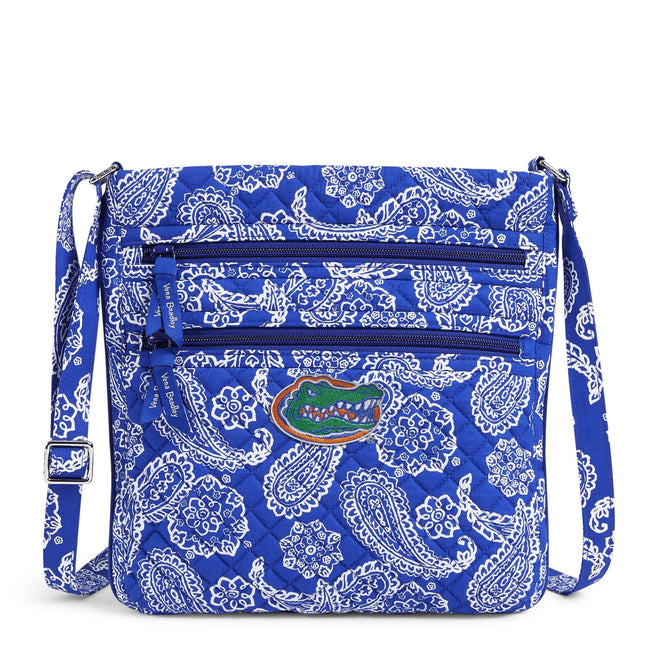 Collegiate Triple Zip Hipster Crossbody-Royal/White Bandana with University of Florida-Image 1-Vera Bradley