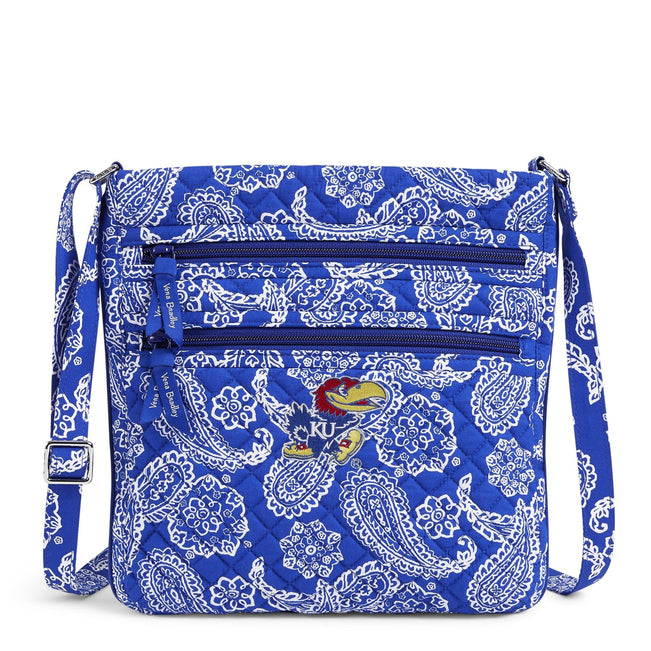 Collegiate Triple Zip Hipster Crossbody-Royal/White Bandana with University of Kansas-Image 1-Vera Bradley
