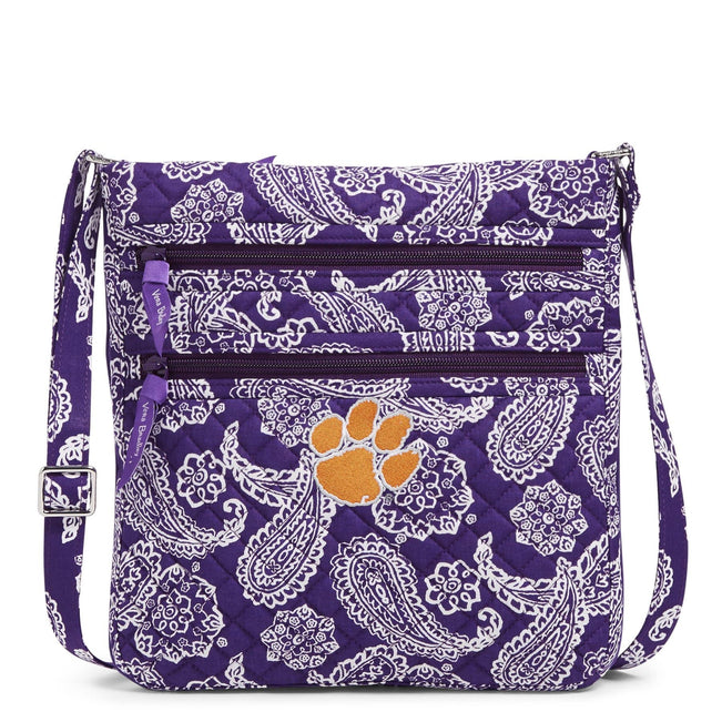 Collegiate Triple Zip Hipster Crossbody-Purple/White Bandana with Clemson University-Image 1-Vera Bradley
