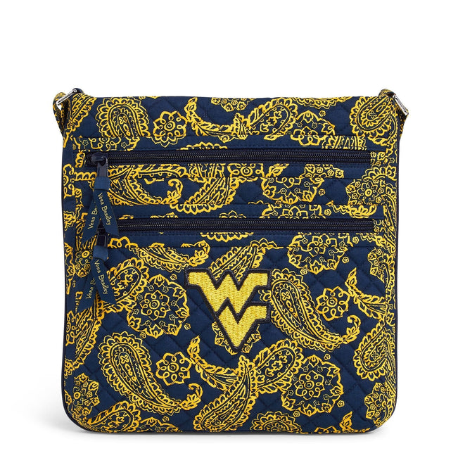 Collegiate Triple Zip Hipster Crossbody-Navy/Gold Bandana with West Virginia University Logo-Image 1-Vera Bradley