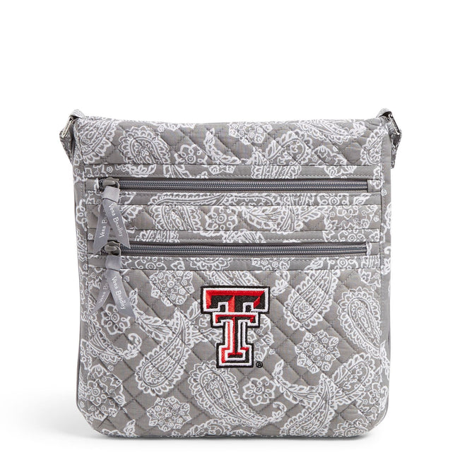 Collegiate Triple Zip Hipster Crossbody-Gray/White Bandana with Texas Tech University Logo-Image 1-Vera Bradley