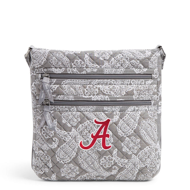 Collegiate Triple Zip Hipster Crossbody-Gray/White Bandana with The University of Alabama Logo-Image 1-Vera Bradley