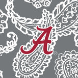 Collegiate Triple Zip Hipster Crossbody-Gray/White Bandana with The University of Alabama Logo-Image 2-Vera Bradley