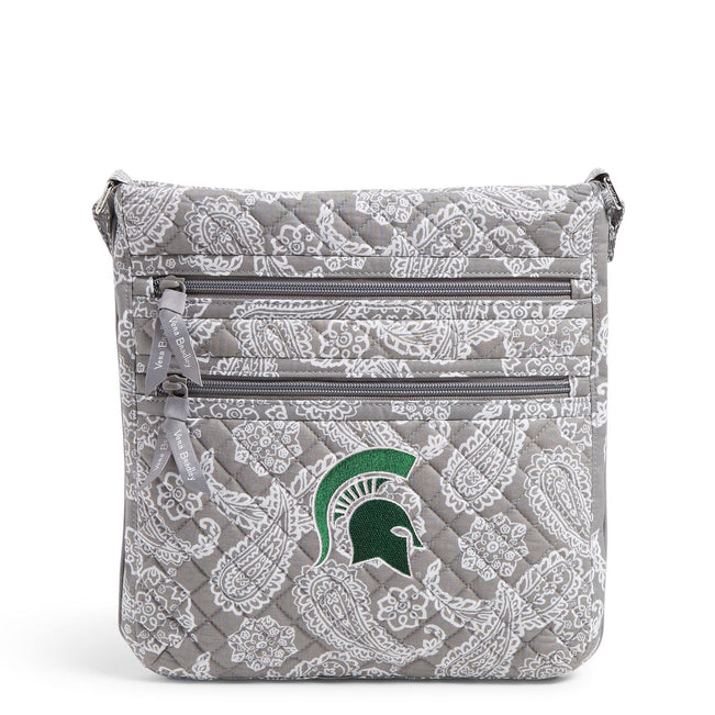 Collegiate Triple Zip Hipster Crossbody-Gray/White Bandana with Michigan State University Logo-Image 1-Vera Bradley