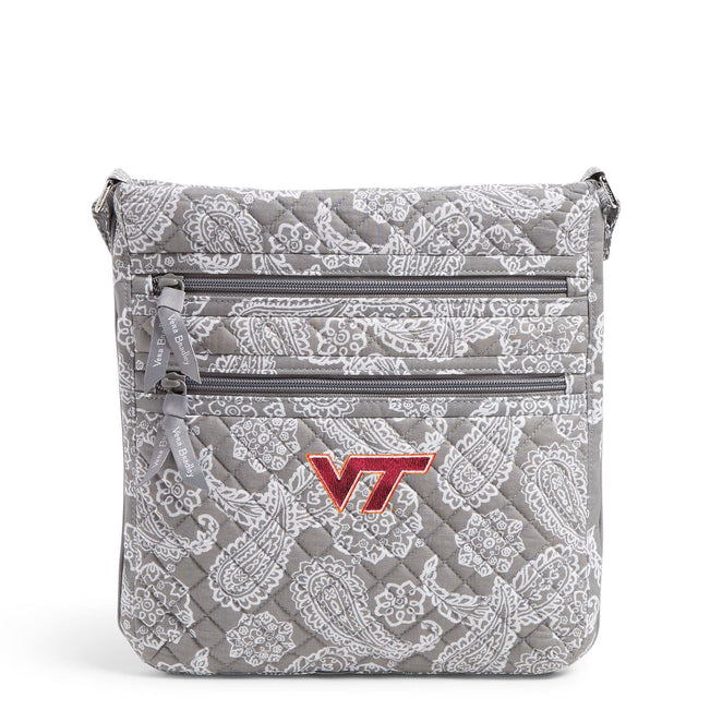 Collegiate Triple Zip Hipster Crossbody-Gray/White Bandana with Virginia Tech Logo-Image 1-Vera Bradley