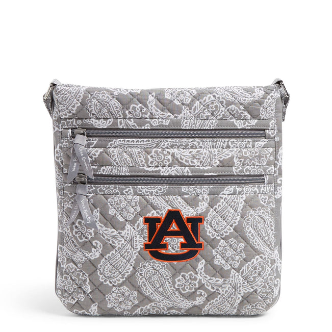 Collegiate Triple Zip Hipster Crossbody-Gray/White Bandana with Auburn University Logo-Image 1-Vera Bradley