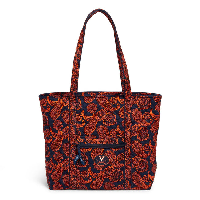 Collegiate Vera Tote Bag-Navy/Orange Bandana with Univeristy of Virginia Logo-Image 1-Vera Bradley
