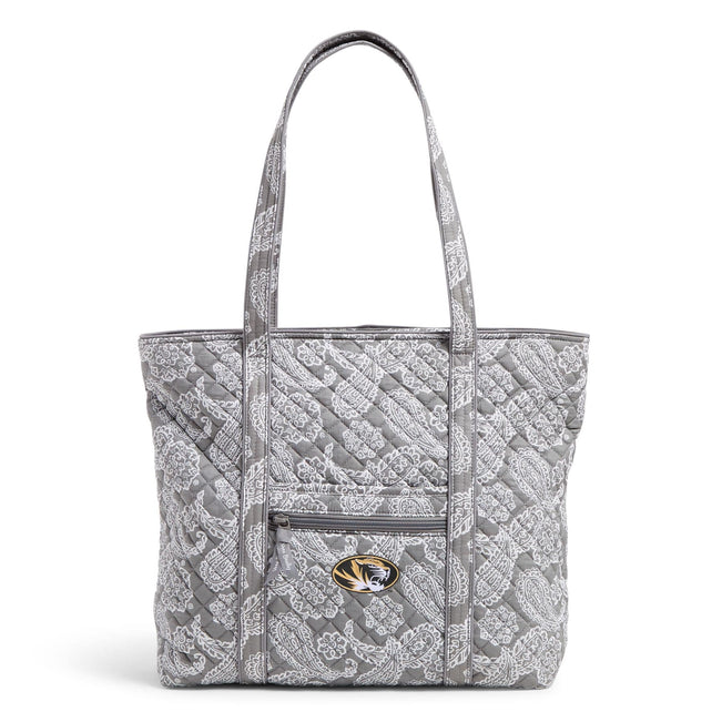 Collegiate Vera Tote Bag-Gray/White Bandana with University of Missouri Logo-Image 1-Vera Bradley