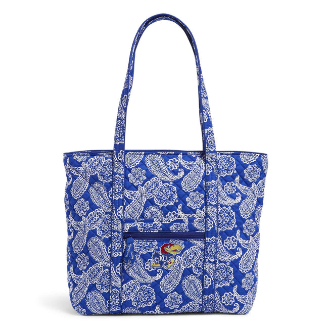 Collegiate Vera Tote Bag-Royal/White Bandana with University of Kansas-Image 1-Vera Bradley