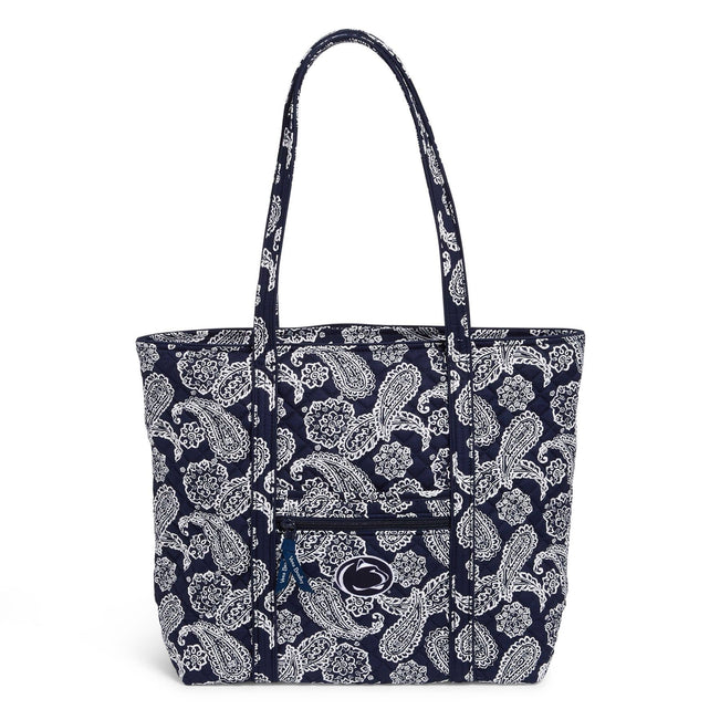 Collegiate Vera Tote Bag-Navy/White Bandana with Penn State University Logo-Image 1-Vera Bradley