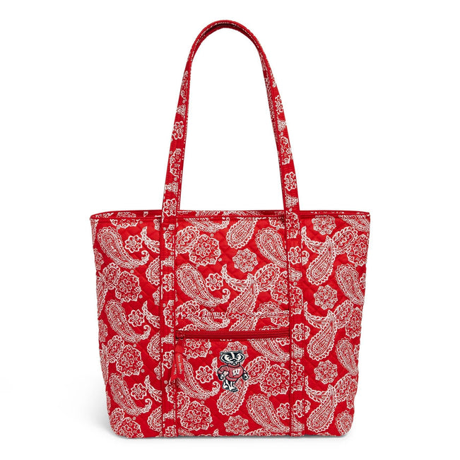 Collegiate Vera Tote Bag-Red/White Bandana with University of Wisconsin Logo-Image 1-Vera Bradley
