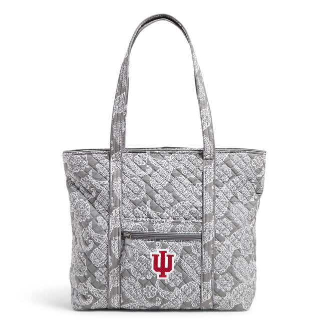 Collegiate Vera Tote Bag-Gray/White Bandana with Indiana University Logo-Image 1-Vera Bradley