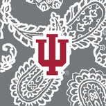 Collegiate Vera Tote Bag-Gray/White Bandana with Indiana University Logo-Image 2-Vera Bradley