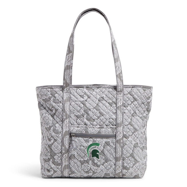 Collegiate Vera Tote Bag-Gray/White Bandana with Michigan State University Logo-Image 1-Vera Bradley