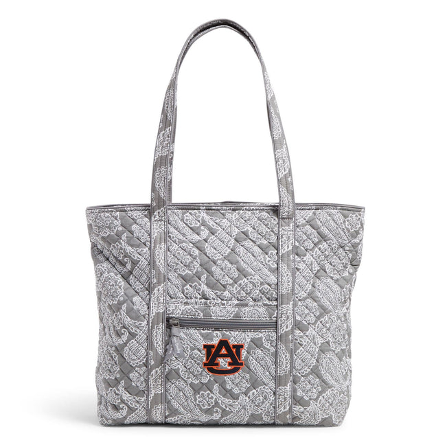Collegiate Vera Tote Bag-Gray/White Bandana with Auburn University Logo-Image 1-Vera Bradley
