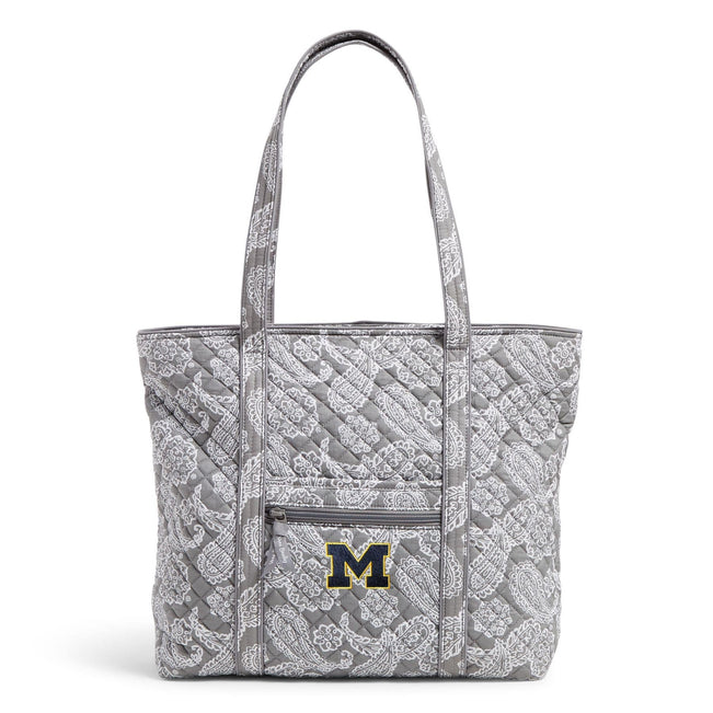 Collegiate Vera Tote Bag-Gray/White Bandana with University of Michigan Logo-Image 1-Vera Bradley