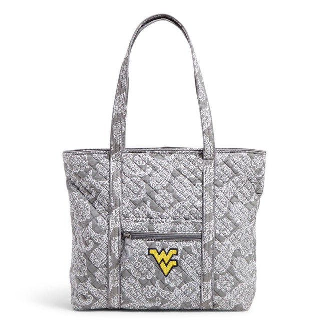 Collegiate Vera Tote Bag-Gray/White Bandana with West Virginia University Logo-Image 1-Vera Bradley
