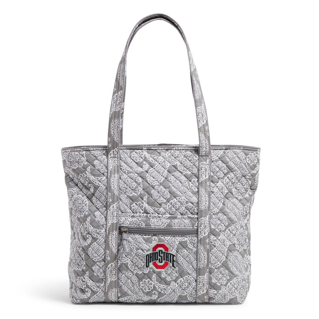 Collegiate Vera Tote Bag-Gray/White Bandana with The Ohio State University Logo-Image 1-Vera Bradley