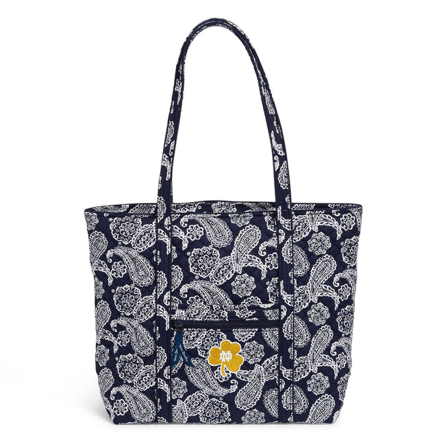 Collegiate Vera Tote Bag-Navy/White Bandana with University of Notre Dame Logo-Image 1-Vera Bradley