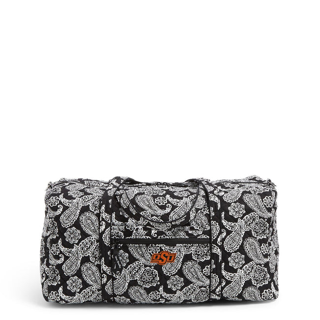 Collegiate Large Travel Duffel Bag-Black/White Bandana with Oklahoma State University-Image 1-Vera Bradley