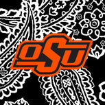 Collegiate Large Travel Duffel Bag-Black/White Bandana with Oklahoma State University-Image 4-Vera Bradley