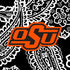 Collegiate Large Travel Duffel Bag-Black/White Bandana with Oklahoma State University-Image 2-Vera Bradley