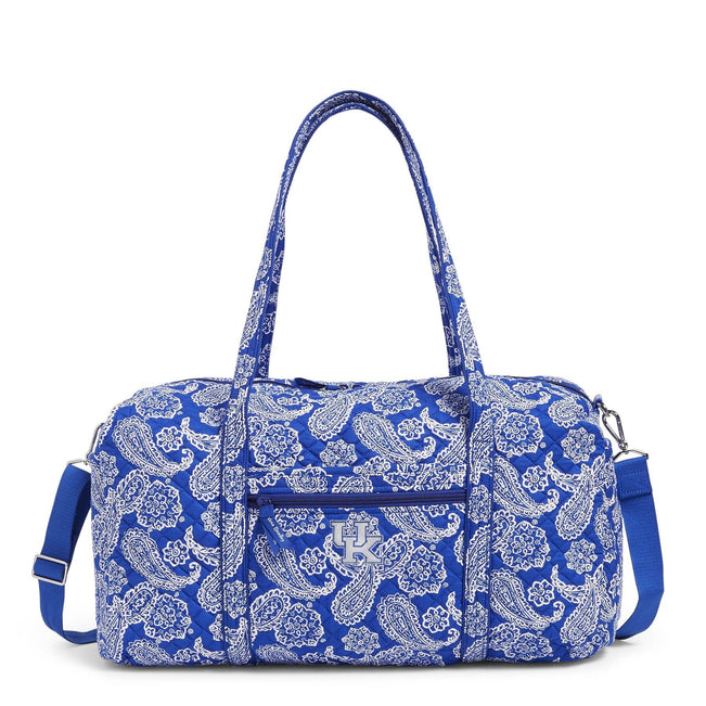 Collegiate Large Travel Duffel Bag-Royal/White Bandana with University of Kentucky-Image 1-Vera Bradley