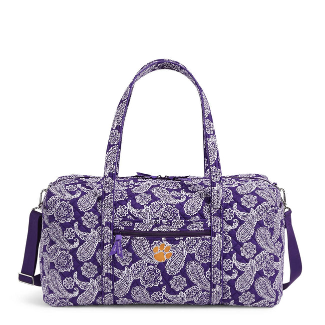Collegiate Large Travel Duffel Bag-Purple/White Bandana with Clemson University-Image 1-Vera Bradley